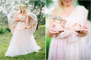 creative gold wings wedding